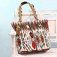 Cotton and leather accent tote handbag, 'Geometric Symphony' - Cotton Canvas and Leather Accent Geometric Tote Handbag