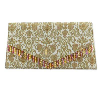 Floral Brocade Beaded Clutch Handbag in Sage Green
