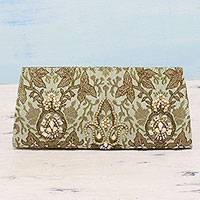 Beaded brocade clutch, 'Floral Delhi' - Fleur-De-Lis Beaded Brocade Clutch Evening Bag from India