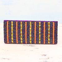 Beaded clutch, 'Evening Stripes' - Multicolored Striped Beaded Clutch Evening Bag from India