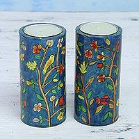Wood tealight holders, 'New Bloom' (pair) - Two Hand-Painted Floral Wood Tealight Holders from India