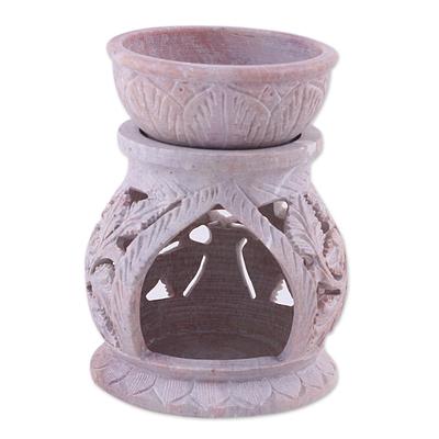 Soapstone oil warmer, 'Garden of Leaves' - Handcrafted Leaf Motif Soapstone Oil Warmer from India