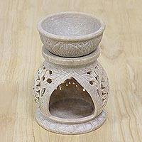 Soapstone oil warmer, 'Floral Warmth' - Handcrafted Lotus Flower Soapstone Oil Warmer from India