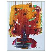 'Amber Allure' - Original Signed Floral Still Life in Jewel Colors from India