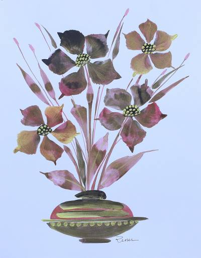 'Artistic Grace' - Modern Mixed Media Painting of Flowers in Pastel Tones
