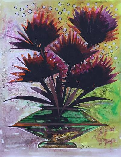 'Graceful Frond' - Burgundy and Multicolor Palm Tree Painting from India