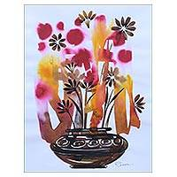 'Flower Wonder' - India Colorful Signed Ink Painting of Flowers in a Pot