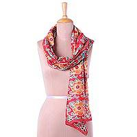 Cotton and silk blend batik scarf, 'Floral Bliss' - Cotton and Silk Blend Red Floral Batik Handmade Scarf