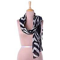 Batik cotton blend scarf, 'Entrancing Zebra' - Black and White Batik Zebra Scarf from India