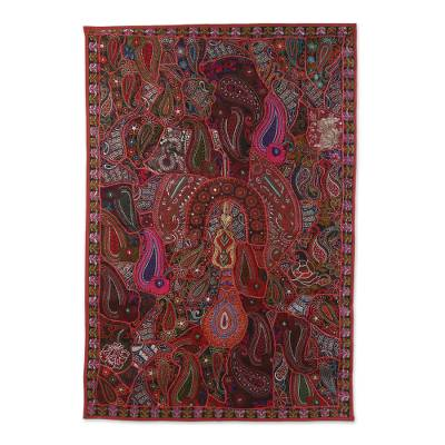 Novica Embroidered tablet sleeve, Blossoming Red