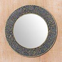 Beaded wall mirror, 'Glass Grandeur'