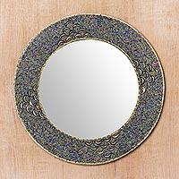 Beaded wall mirror, 'Glass Grandeur' - Handmade Multicolor Glass Beaded Brass Wall Mirror
