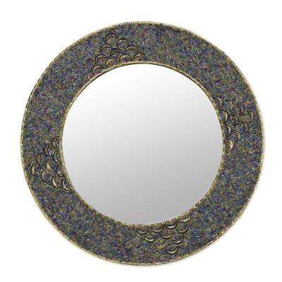Beaded wall mirror, 'Glass Grandeur' - Handmade Multicolor Glass Beaded Brass Wall Mirror