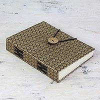 Handmade paper journal, 'Sepia Royal Elegance' - Indian Brown Brocade Elastic-Close Journal with 100 Pages