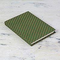 Handmade paper journal, 'Green Golden Fantasy' - Green Brocade Journal or Sketchbook with Handmade Paper