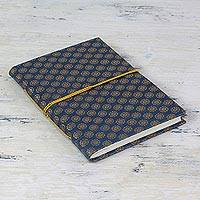 Handmade paper journal, 'Sapphire Sun' - Gold and Blue Brocade Handmade Paper Journal or Sketchbook