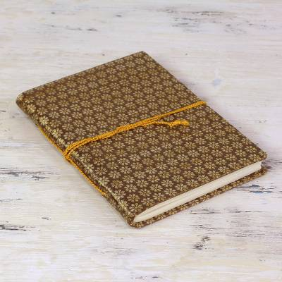 Handmade paper journal, 'Sepia Sun' - Brown and Gold Brocade Handmade Paper Journal or Sketchbook