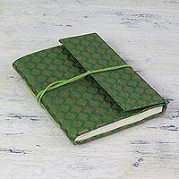 Handmade paper journal, 'Emerald Thoughts' - Handmade Paper and Green Brocade Journal or Sketchbook