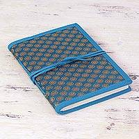 Handmade paper journal, 'Caribbean Blue Ecstasy' - Blue Brocade Handcrafted Personal Journal from India