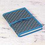 Blue Brocade Handcrafted Personal Journal from India, 'Caribbean Blue Ecstasy'