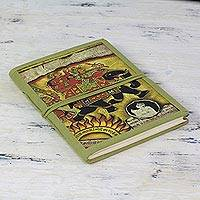 Handmade paper journal,'Mughal Monarch' - Green Elephant Theme Handmade Paper Journal from India