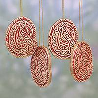 Ceramic ornaments, 'Christmas Paisleys' (set of 4) - Four Ceramic Paisley Ornaments in Gold and Red