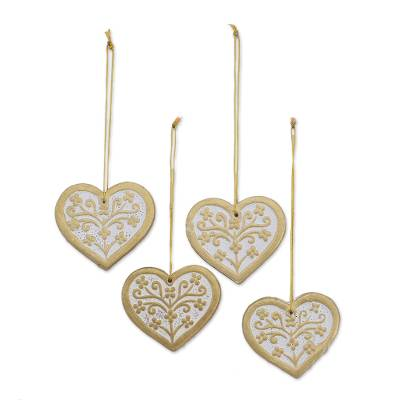 Ceramic ornaments, 'Jolly Hearts' (set of 4) - Four Ceramic Heart Ornaments in Gold and White