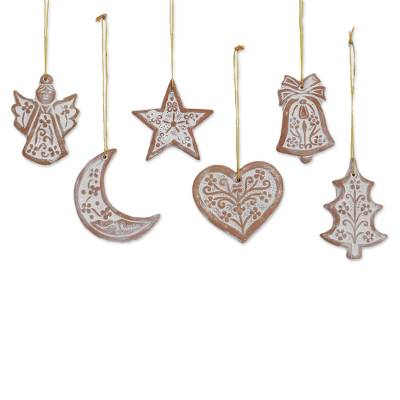 ceramic ornaments christmas union set of 6 six handcrafted ceramic - Ceramic Christmas Ornaments