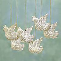 Ceramic ornaments, 'Peaceful Messengers' (set of 6) - Six Ceramic Dove Ornaments in Gold and White