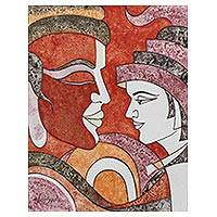 'Father and Son' - Cubist Painting of a Father and Son from India