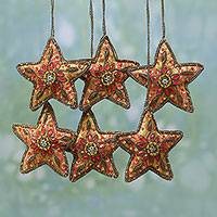 Beaded ornaments, 'Brilliant Stars' (set of 6) - Set of Six Beaded Star Ornaments from India