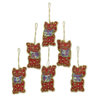 Beaded ornaments, 'Bib Cats' (set of 6) - Set of Six Beaded Cat Ornaments in Crimson from India