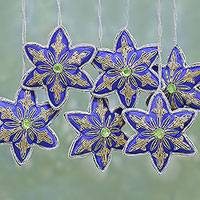 Beaded ornaments, 'Lapis Stars' (set of 6)