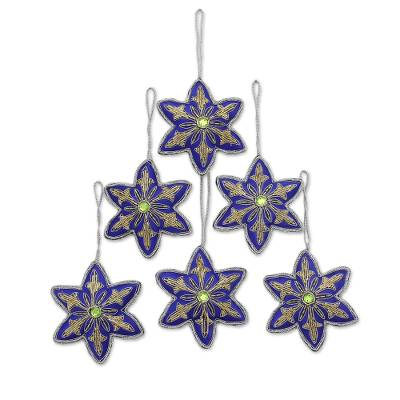 Beaded ornaments, 'Lapis Stars' (set of 6) - Set of Six Beaded Star Ornaments in Lapis from India