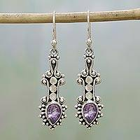Amethyst dangle earrings, 'Droplet Dreams' - Sterling Silver and Teardrop Amethyst Earrings from India