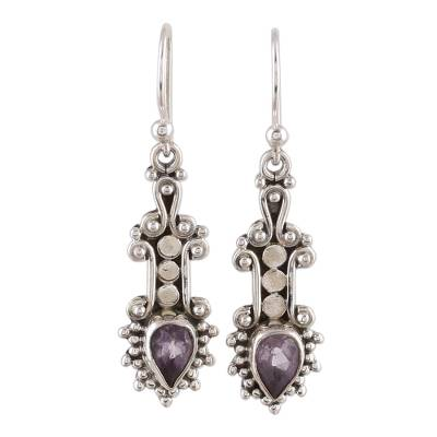 Amethyst dangle earrings, 'Droplet Dreams' - Sterling Silver and Teardrop Amethyst Earrings from India