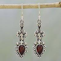Garnet dangle earrings, 'Droplet Dreams' - Sterling Silver and Teardrop Garnet Earrings from India