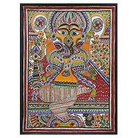 Madhubani painting, 'Vinayaka' - Signed Madhubani Painting of Hindu Ganesha from India
