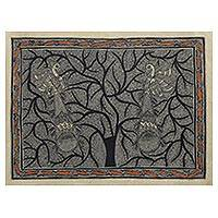 Madhubani painting, 'Peacocks In Love' - Madhubani Painting of a Tree with Birds in Black and White