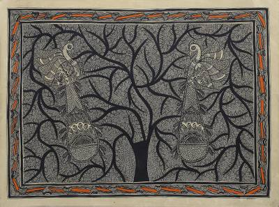 Madhubani Painting of a Tree with Birds in Black and White