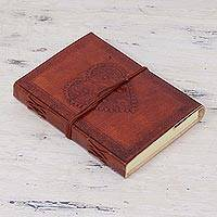 Leather journal, 'Pure Heart' - Handcrafted Leather and Cotton Artisan Journal from India
