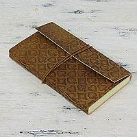 Leather journal, 'Lucky Ace' - Leather Journal with 95 Unlined Pages Handcrafted in India
