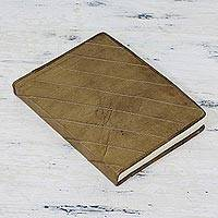 Leather journal, 'Classic Stripes' - Striped 95-Page Unlined Leather Journal Handmade in India