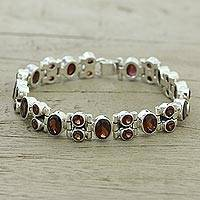 Garnet link bracelet, 'Sweet Glam' - Glam Garnet and Sterling Silver Link Bracelet from India
