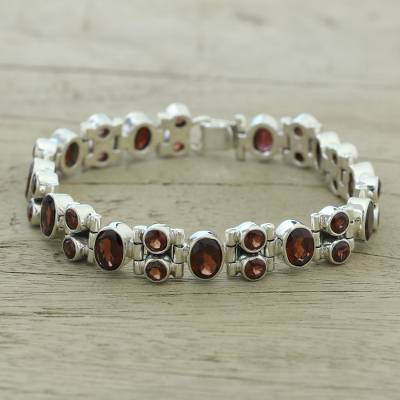 Glam Garnet and Sterling Silver Link Bracelet from India, 'Sweet Glam'