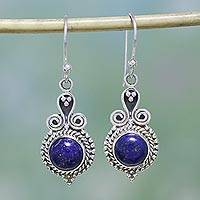 Lapis lazuli dangle earrings, 'Grand Delhi Blue' - 925 Sterling Silver and Lapis Lazuli India Jewelry Earrings