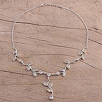 Quartz Y necklace, 'Sparkling Garland' - Quartz Garland in Sterling Silver Necklace from India