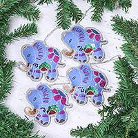 Beaded wool felt ornaments, 'Cerulean Elephants' (set of 4) - Set of Four Wool Beaded Elephant Ornaments from India