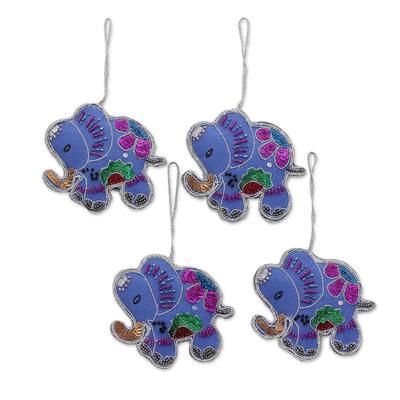 Beaded wool felt ornaments, 'Cerulean Elephants' (set of 4) - Set of Four Wool Beaded Elephant Ornaments from India