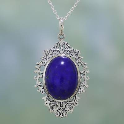 Lapis lazuli pendant necklace, 'Ocean's Reflection' - Lapis Lazuli and Sterling Silver Pendant Necklace from India